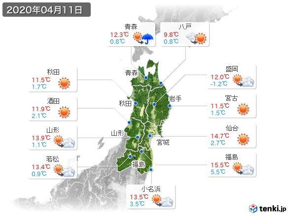 東北地方(2020年04月11日の天気
