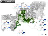 2020年04月12日の東海地方の実況天気