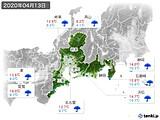2020年04月13日の東海地方の実況天気