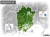 2020年04月13日の岡山県の実況天気
