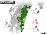 2020年04月13日の宮崎県の実況天気