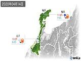 2020年04月14日の石川県の実況天気