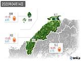 2020年04月14日の島根県の実況天気