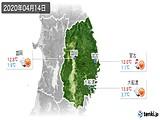2020年04月14日の岩手県の実況天気
