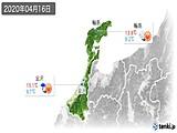 2020年04月16日の石川県の実況天気