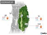 2020年04月16日の岩手県の実況天気