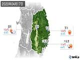 2020年04月17日の岩手県の実況天気