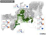 2020年04月18日の東海地方の実況天気