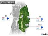 2020年04月18日の岩手県の実況天気