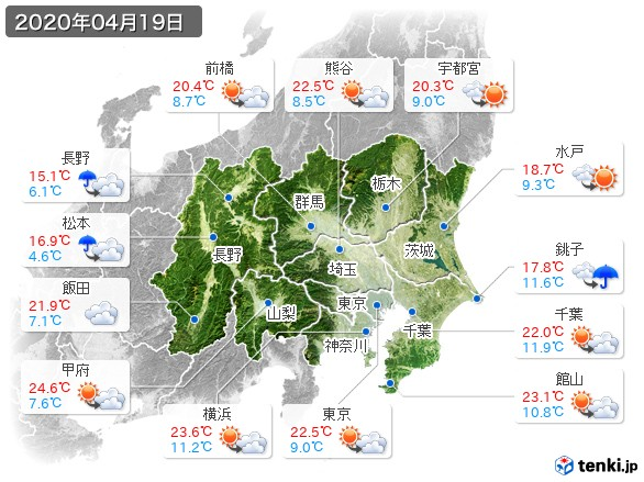関東・甲信地方(2020年04月19日の天気