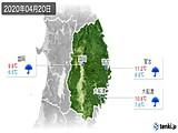 2020年04月20日の岩手県の実況天気