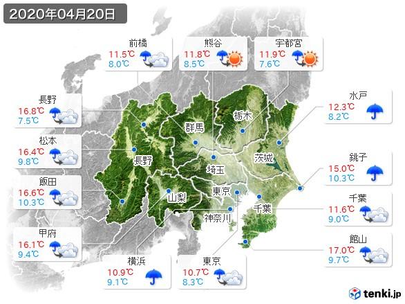 関東・甲信地方(2020年04月20日の天気