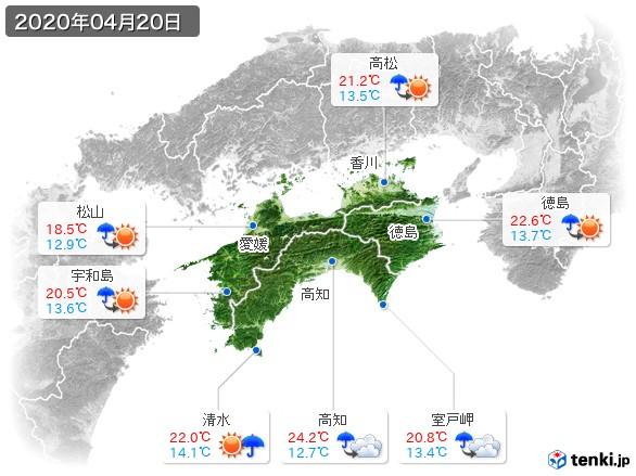 四国地方(2020年04月20日の天気