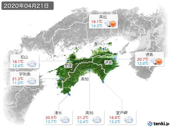 四国地方(2020年04月21日の天気