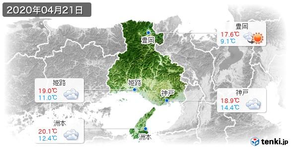 兵庫県(2020年04月21日の天気