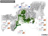 2020年04月22日の東海地方の実況天気