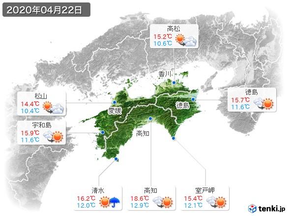 四国地方(2020年04月22日の天気