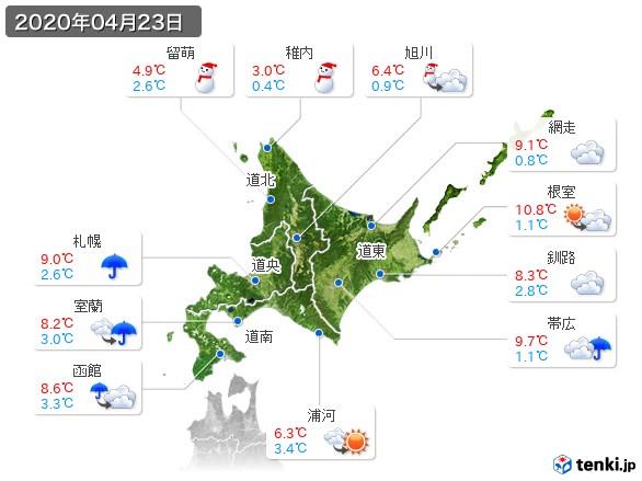 北海道地方(2020年04月23日の天気
