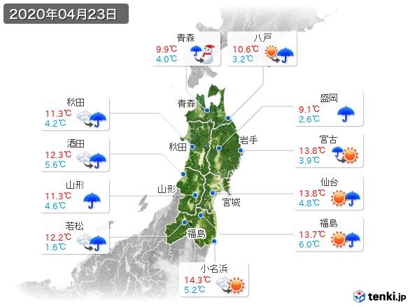 東北地方(2020年04月23日の天気