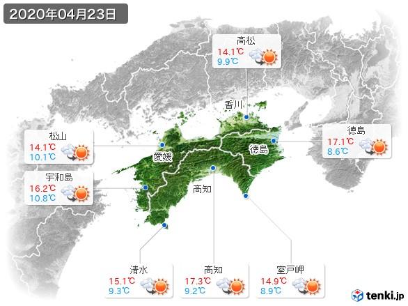 四国地方(2020年04月23日の天気