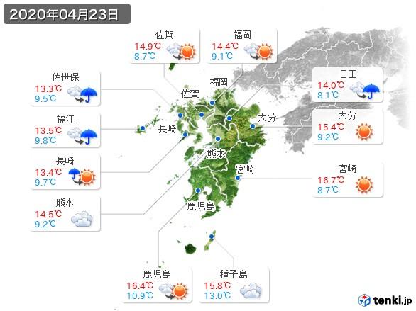 九州地方(2020年04月23日の天気