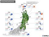 2020年04月24日の東北地方の実況天気