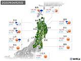 2020年04月25日の東北地方の実況天気