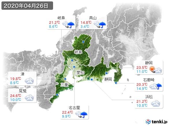 東海地方(2020年04月26日の天気
