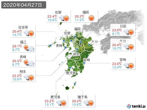 九州地方(2020年04月27日の天気