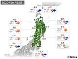 2020年04月28日の東北地方の実況天気