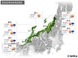 2020年04月28日の北陸地方の実況天気