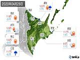 2020年04月28日の道東の実況天気