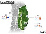 2020年04月28日の岩手県の実況天気