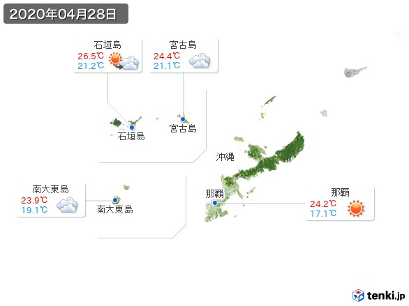 沖縄地方(2020年04月28日の天気