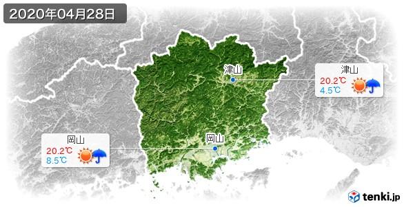 岡山県(2020年04月28日の天気