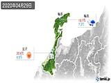 2020年04月29日の石川県の実況天気