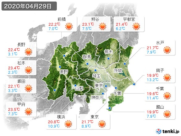 関東・甲信地方(2020年04月29日の天気