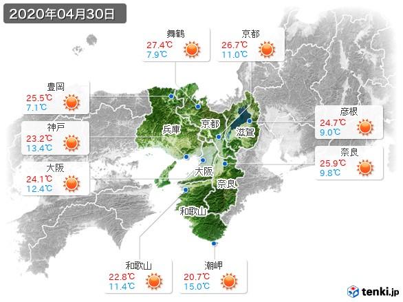 近畿地方(2020年04月30日の天気