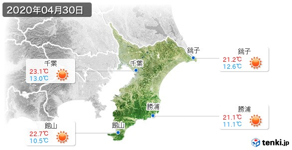 千葉県(2020年04月30日の天気