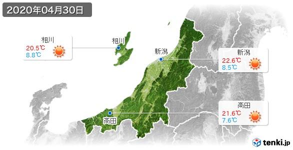 新潟県(2020年04月30日の天気