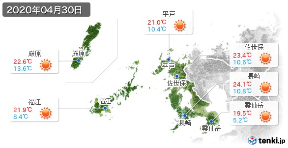長崎県(2020年04月30日の天気
