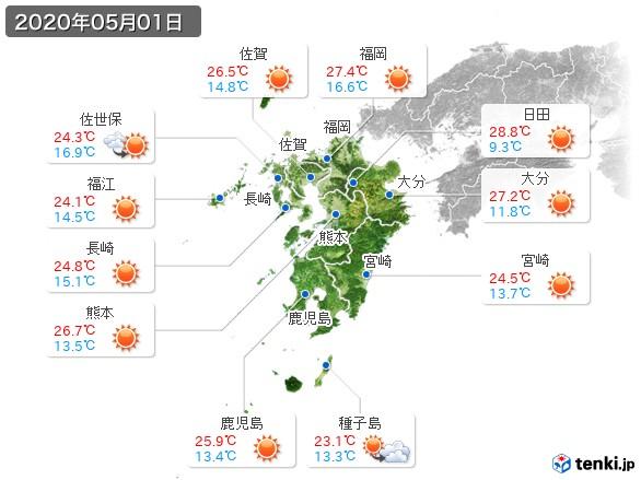 九州地方(2020年05月01日の天気