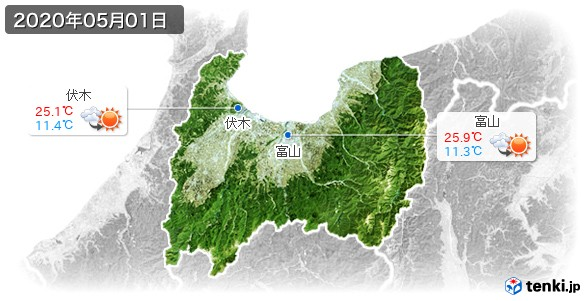 富山県(2020年05月01日の天気