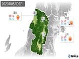 2020年05月02日の山形県の実況天気