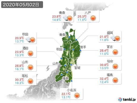 東北地方(2020年05月02日の天気
