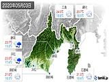 2020年05月03日の静岡県の実況天気