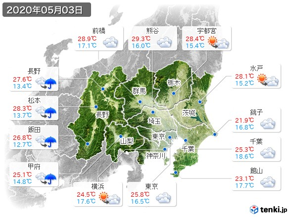 関東・甲信地方(2020年05月03日の天気