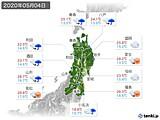 2020年05月04日の東北地方の実況天気