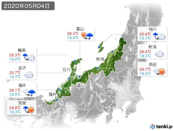 北陸地方(2020年05月04日の天気