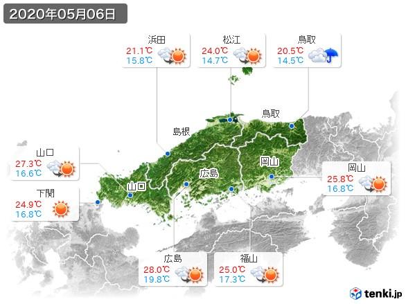 中国地方(2020年05月06日の天気